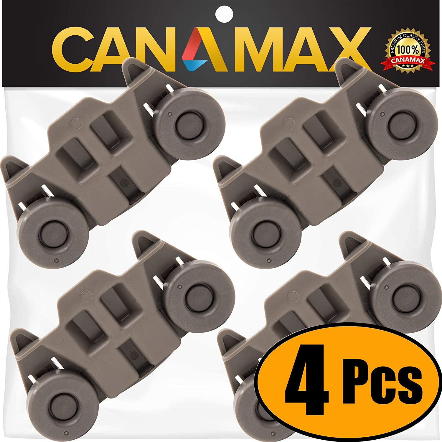 W10195416 Dishwasher Lower Rack Wheel Premium Replacement Part by Canamax - Compatible with Whirlpool & Kenmore Dish Racks - Replaces AP5983730 PS11722152 W10195416V - PACK OF 4