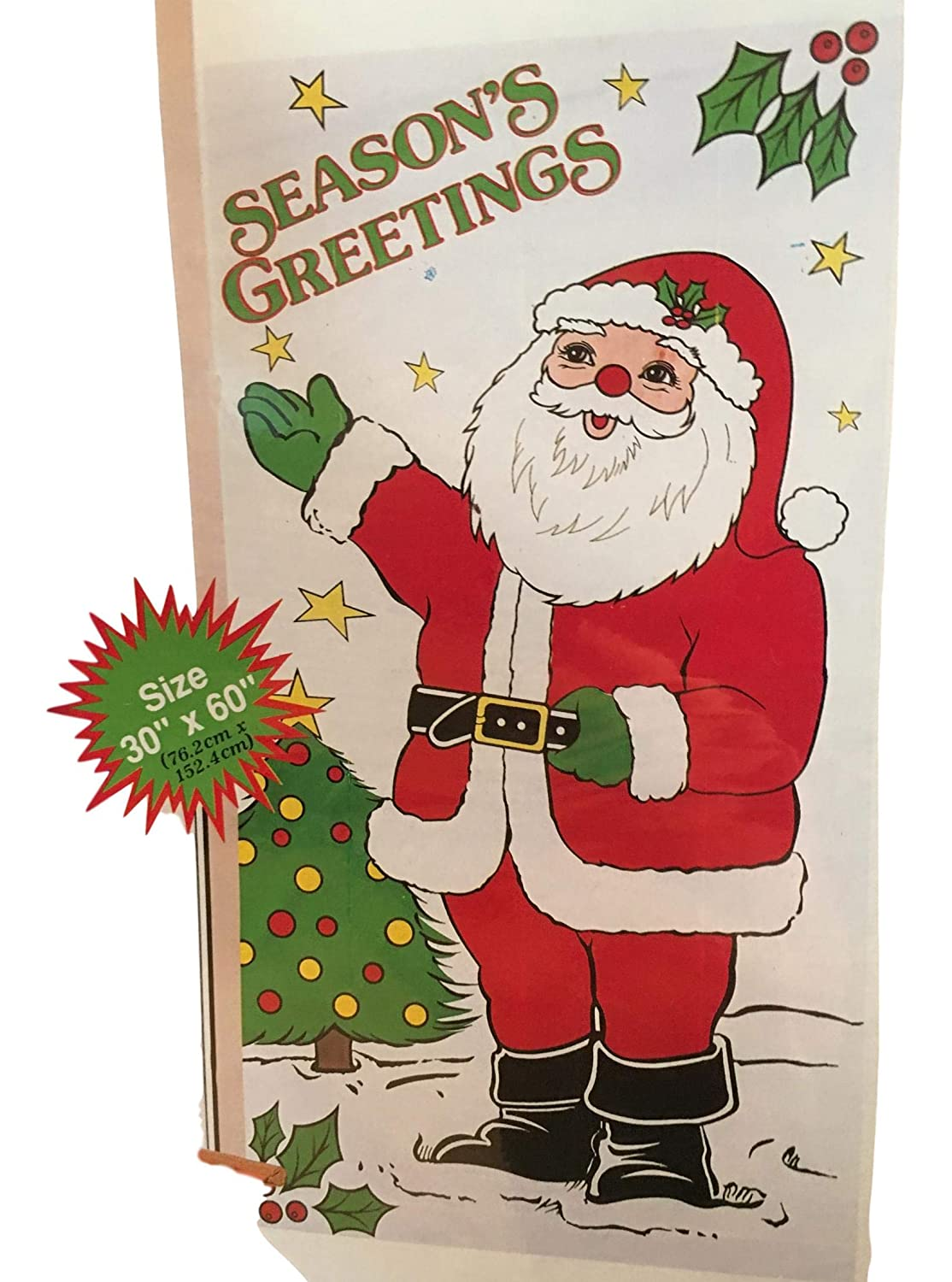 Christmas Door Covers - Santa Christmas Lights, Christmas Eve, Gingerbread House, Snowman Penguin Sled Ride (Christmas Eve Santa) Midwood Brands