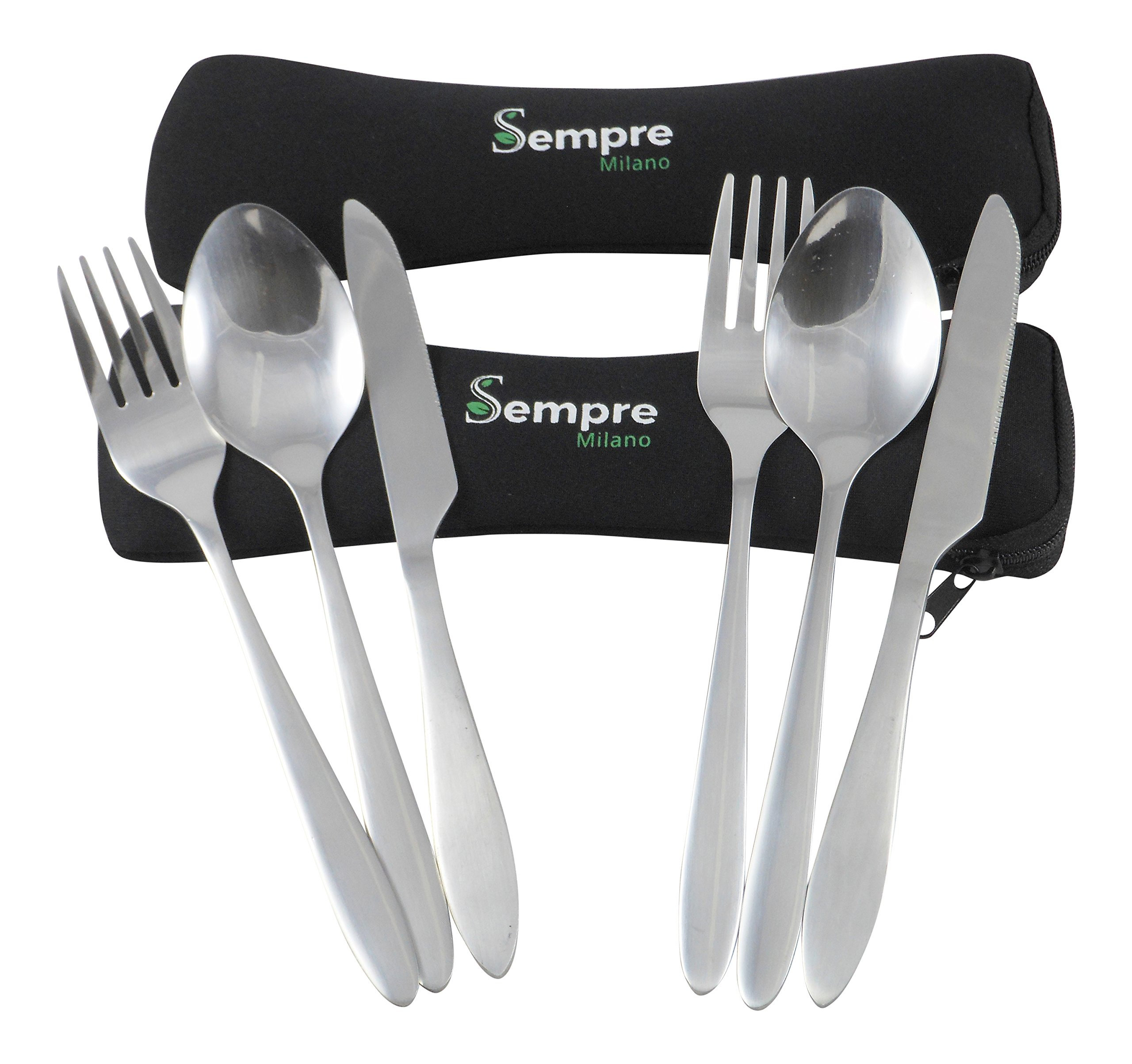 3 Piece Stainless Steel (Knife Fork Spoon) Reusable Lunch Box Utensils, Lightweight Portable Travel Camping Cutlery Set with Neoprene Case By Sempre (2 Pack)