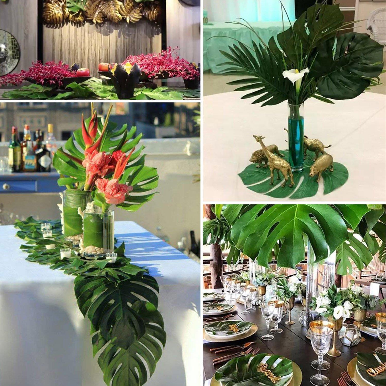 Comius Tropische Bl/ätter Dschungel Deko Palmenbl/ätter Dschungel Strand Thema Party Hochzeit Dekorationen Tischdekoration 45 St/ück