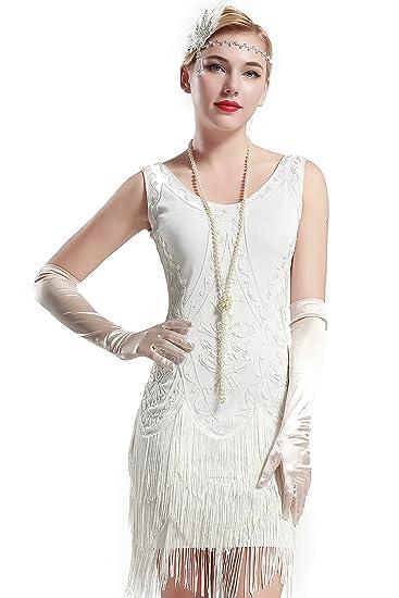4e71884b431d Babeyond Vestito Gatsby Donne 1920s Abiti Vestito Anni 20 Donna Flapper  Dress 1920s Vestito da Sera Paillette Impreziosito Frange Gatsby Dress  Senza Maniche ...