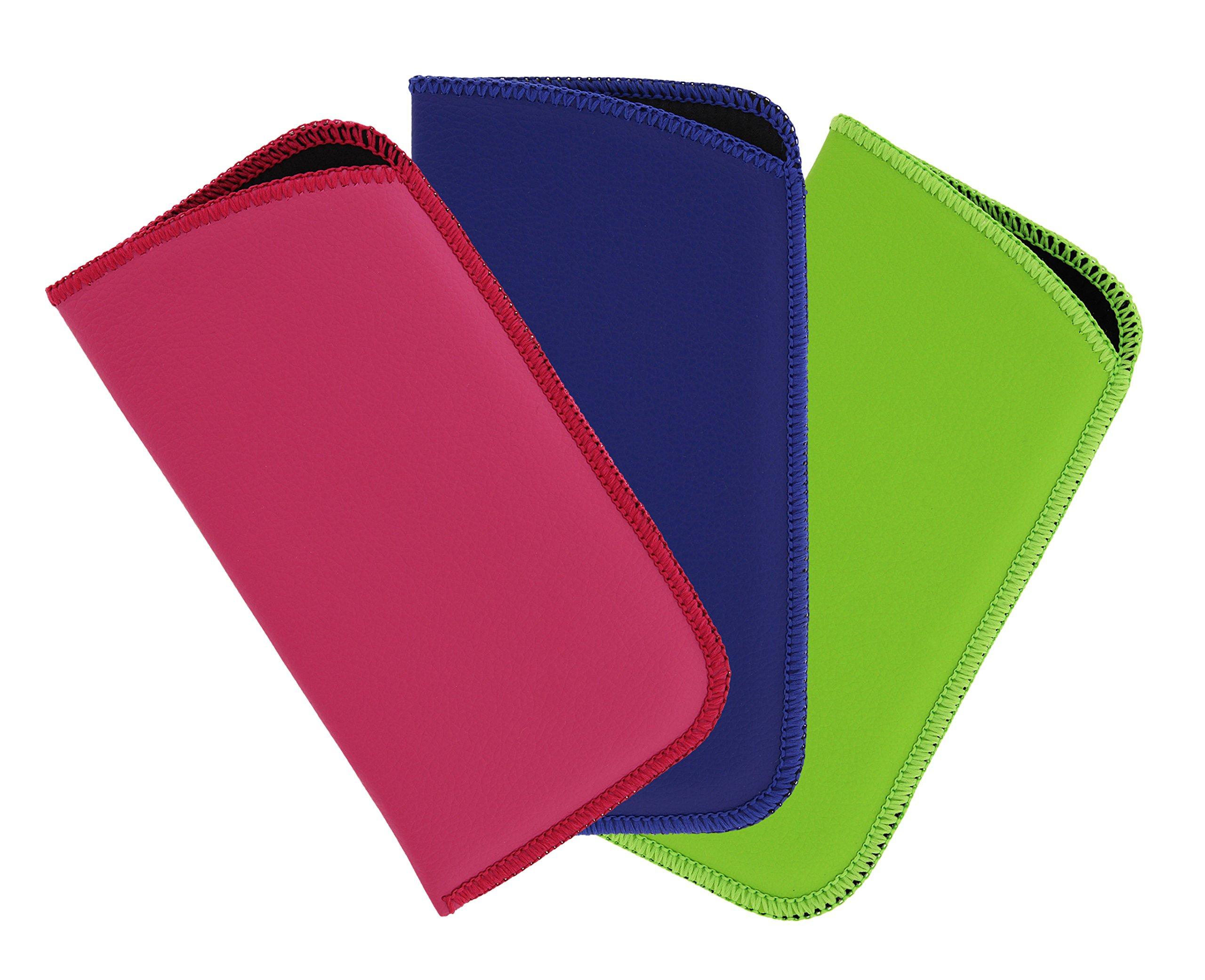 3 Pack Faux Leather Soft Slip In Eyeglass Case For Women & Men, Pink/Blue/Green