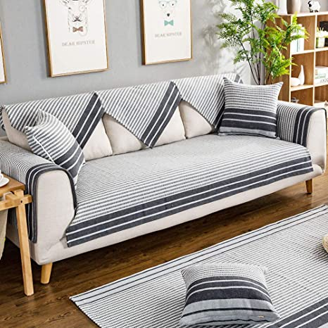 Amazon.com: SANDM Cotton and Linen Striped Sofa Covers ...