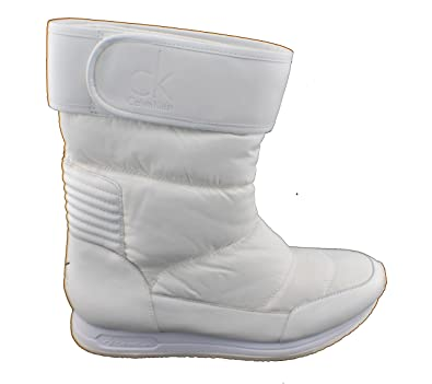 Calvin Klein Stiefel Mujer 40 White Tea Shiny NYLON-CALF-T40 uHNCF