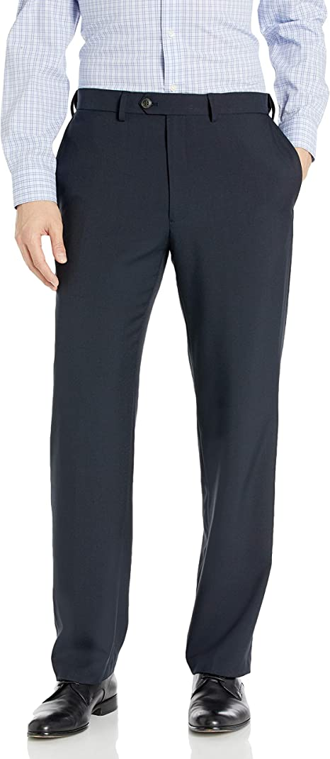 Haggar Mens eCLo Stria Expandable-Waist Plain-Front Dress Pant