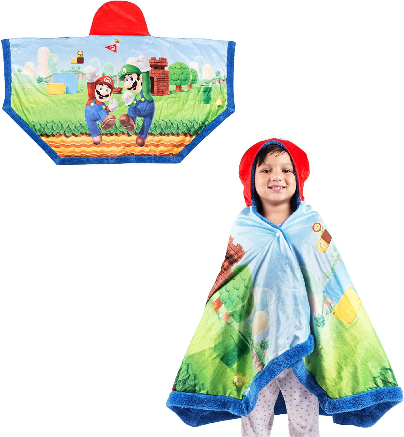 """Franco Kids Bedding Soft and Cozy Snuggle Wrap Hoodie Blanket, 55"""" x 31"""", Super Mario"""