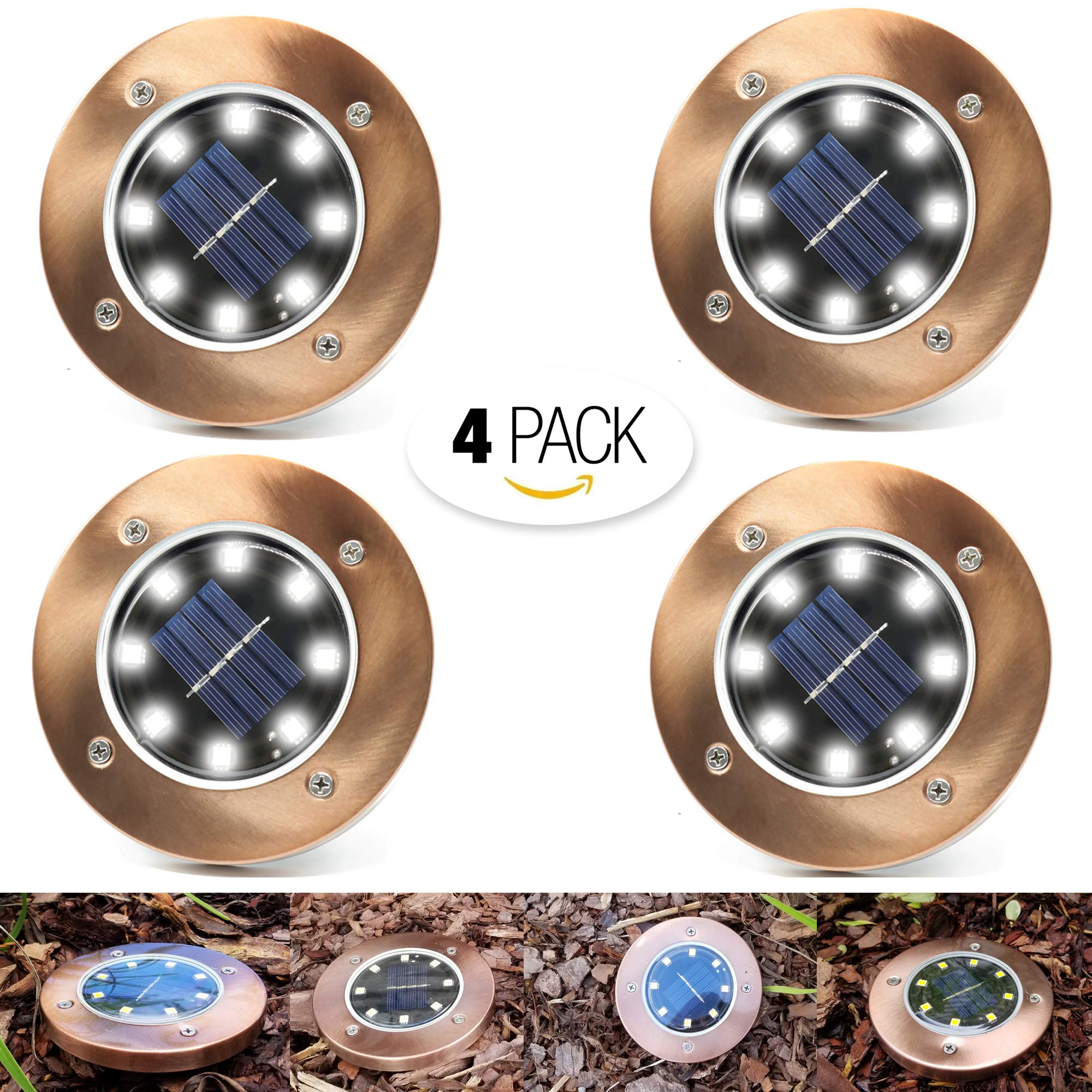 s'AllGood 4 Pack Solar 8 LED Ground Lights Outdoor Disk Lights for Garden Driveways Patio Deck Pathway Waterproof (Copper/Bronze Finish) (Bright White LED)