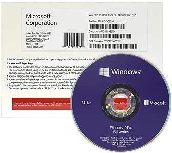 Windows 10 Professional 64 bit OEM - English - Original Full Version - Windows 10 Pro OEM License - 1 PC - DVD-Disk