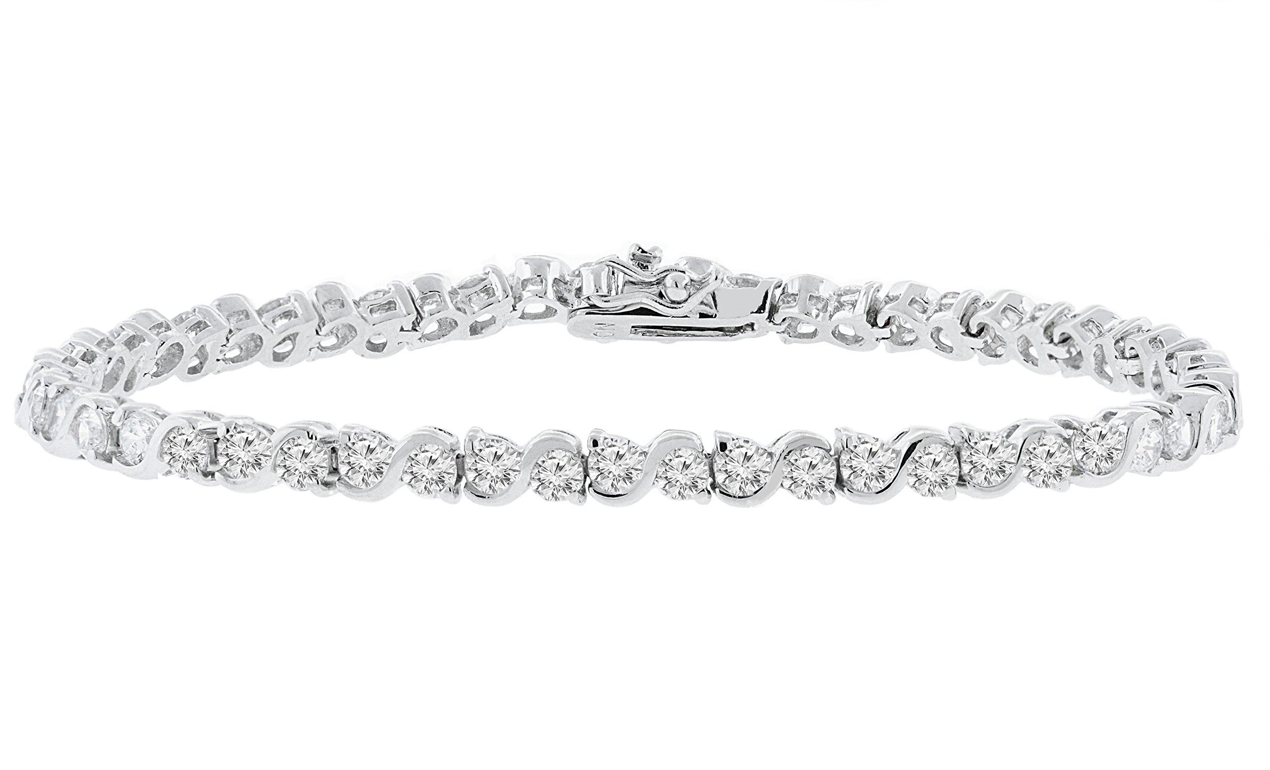 Cate & Chloe Ezra 7.5'' 18k Infinity Tennis Bracelet, White Gold Plated Bangle Bracelet with Unique Infinity Chain Design & CZ Stones, Sparkling Tennis Bracelets for Women, MSRP - $170