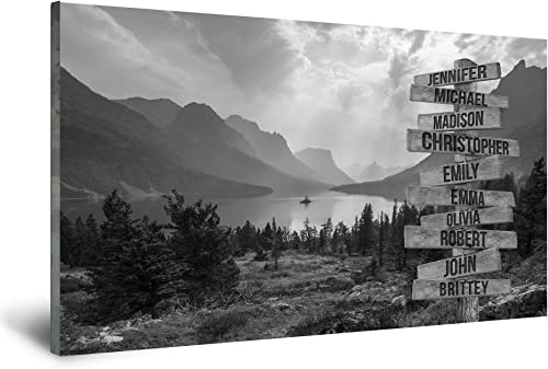 FAMILY GIFTS CO. Mountain Range Multi Names Premium Canva