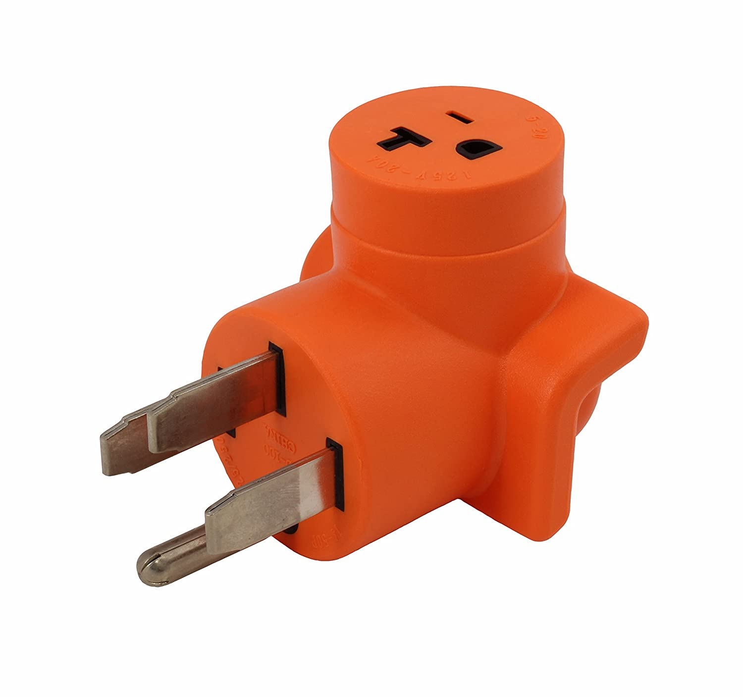 AC WORKS AD1450520 Plug Adapter NEMA 14-50P 50Amp Range//RV//Generator Outlet to Household 15//20Amp 125Volt T-Blade Female Connector