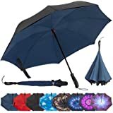 Repel Reverse Folding Inverted Umbrella with 2 Layered Teflon Canopy - Golf Umbrella with Reinforced Fiberglass Ribs