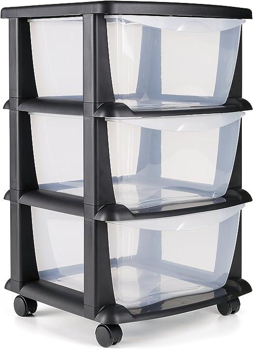 Maxi Nature Kitchenware Cajoneras contenedores de plástico con Ruedas para Uso rudo Contenedores para almacenaje de Color Negro con 3 cajones - Hecho en Europa: Amazon.es: Juguetes y juegos