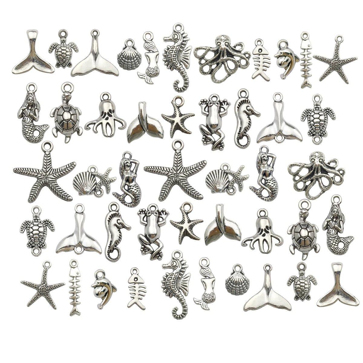 iloveDIYbeads Lot de 90 pendentifs pour Loisirs créatifs, Petits Animaux Marins, Argent Antique et argenté, pour création de Bijoux, Accessoire pour Bricolage de Colliers, Bracelets (Bleu Marine)