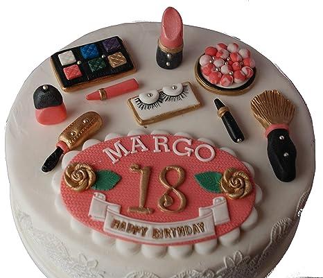 Personalised Make Up Birthday Set Edible Cake Topper Decoration