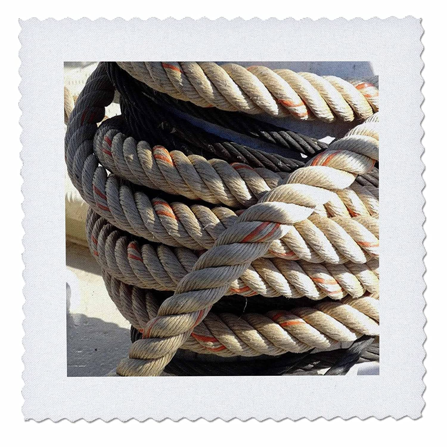 3D Rose Image of Close Up of Mooring Lines for Large Boat Square Quilt 6 x 6