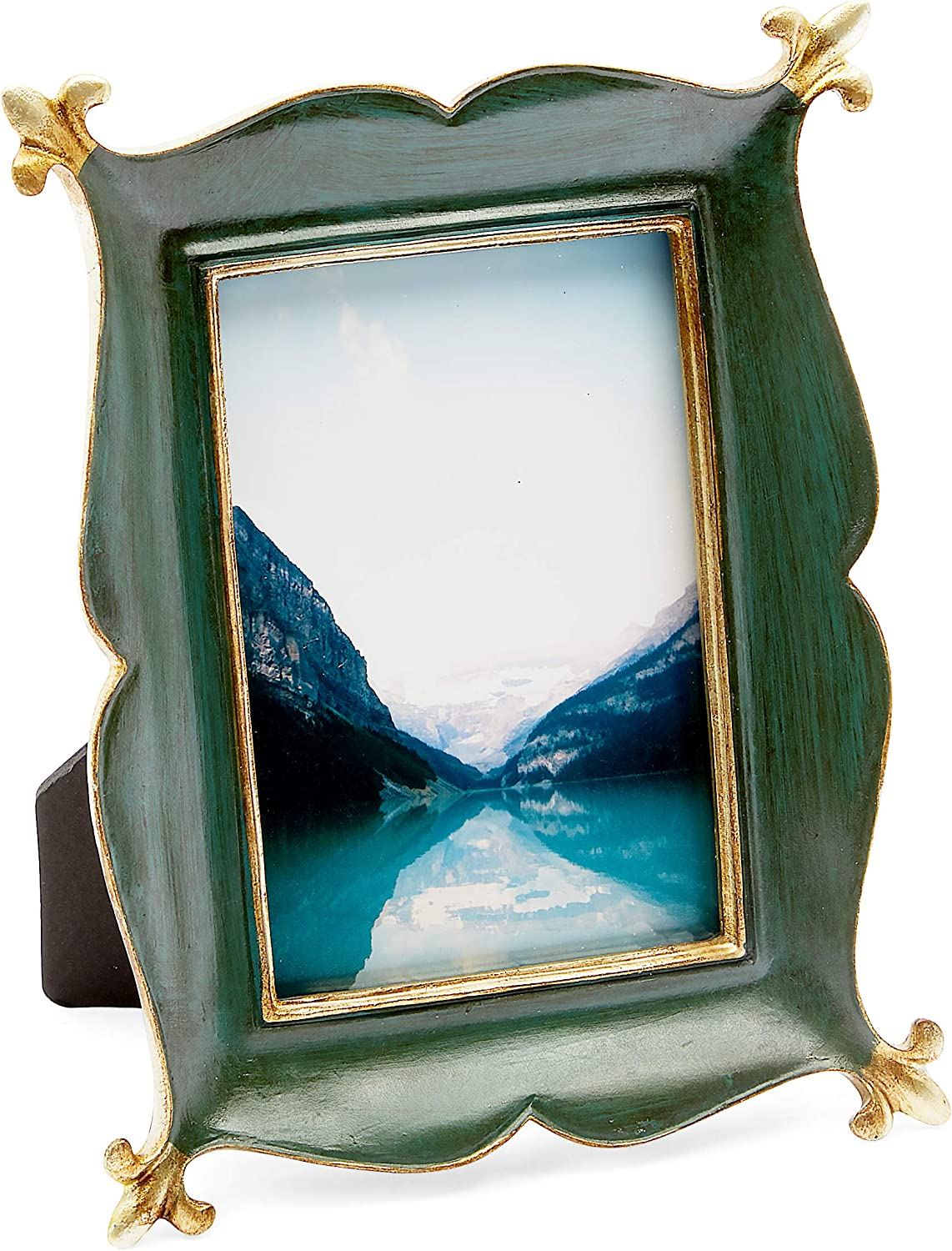 Okuna Outpost Vintage Picture Frames for 4 x 6 Inch Photos, Rustic Green, Gold (6 x 8 in)