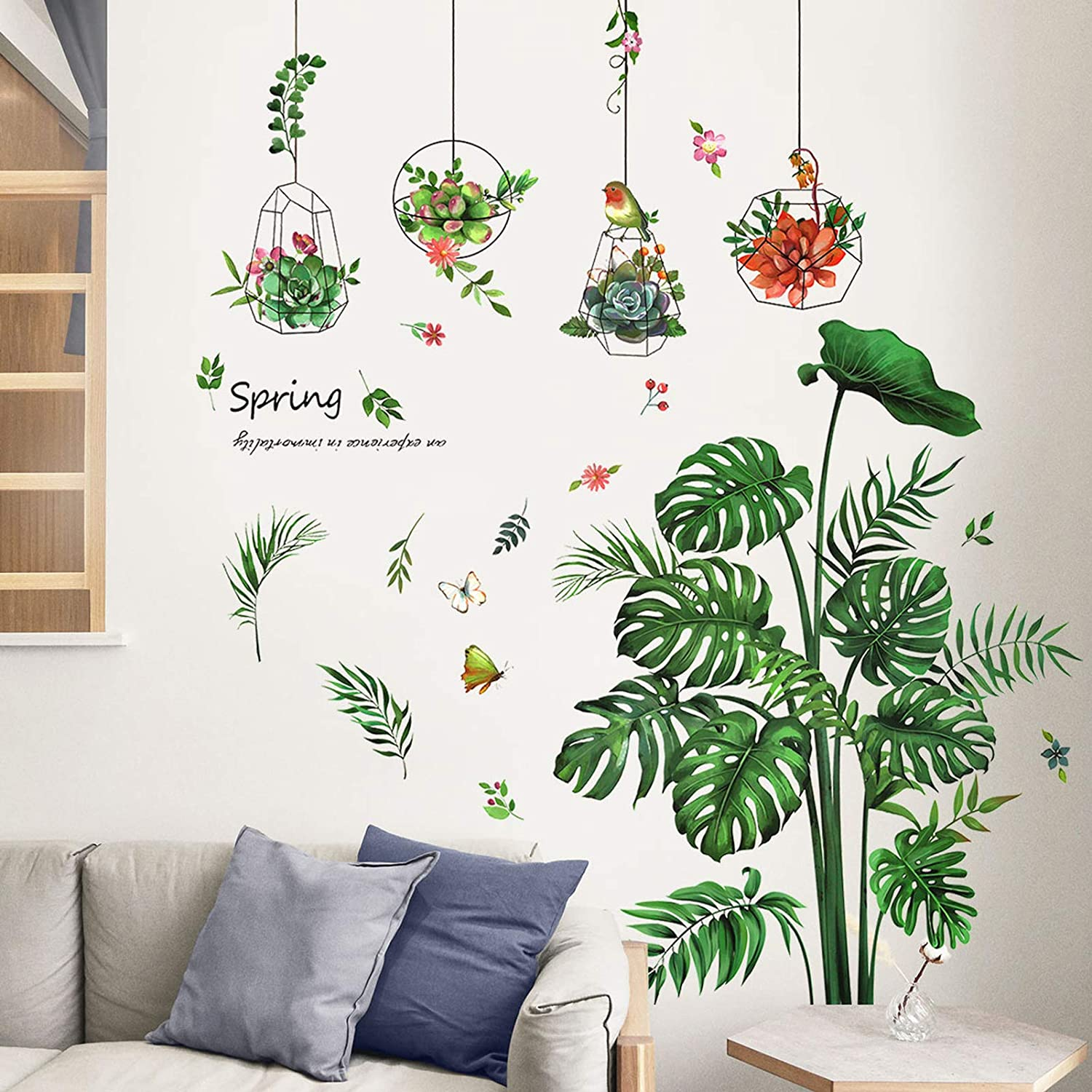 TANOKY Green Tropical Leaves Wall Decal, Palm Tree Leaf Green Plants Wall Stickers Decor, Peel and Stick Wall Murals for Bedroom Living Room Home Decoration - Safe on Walls & Easy Peel
