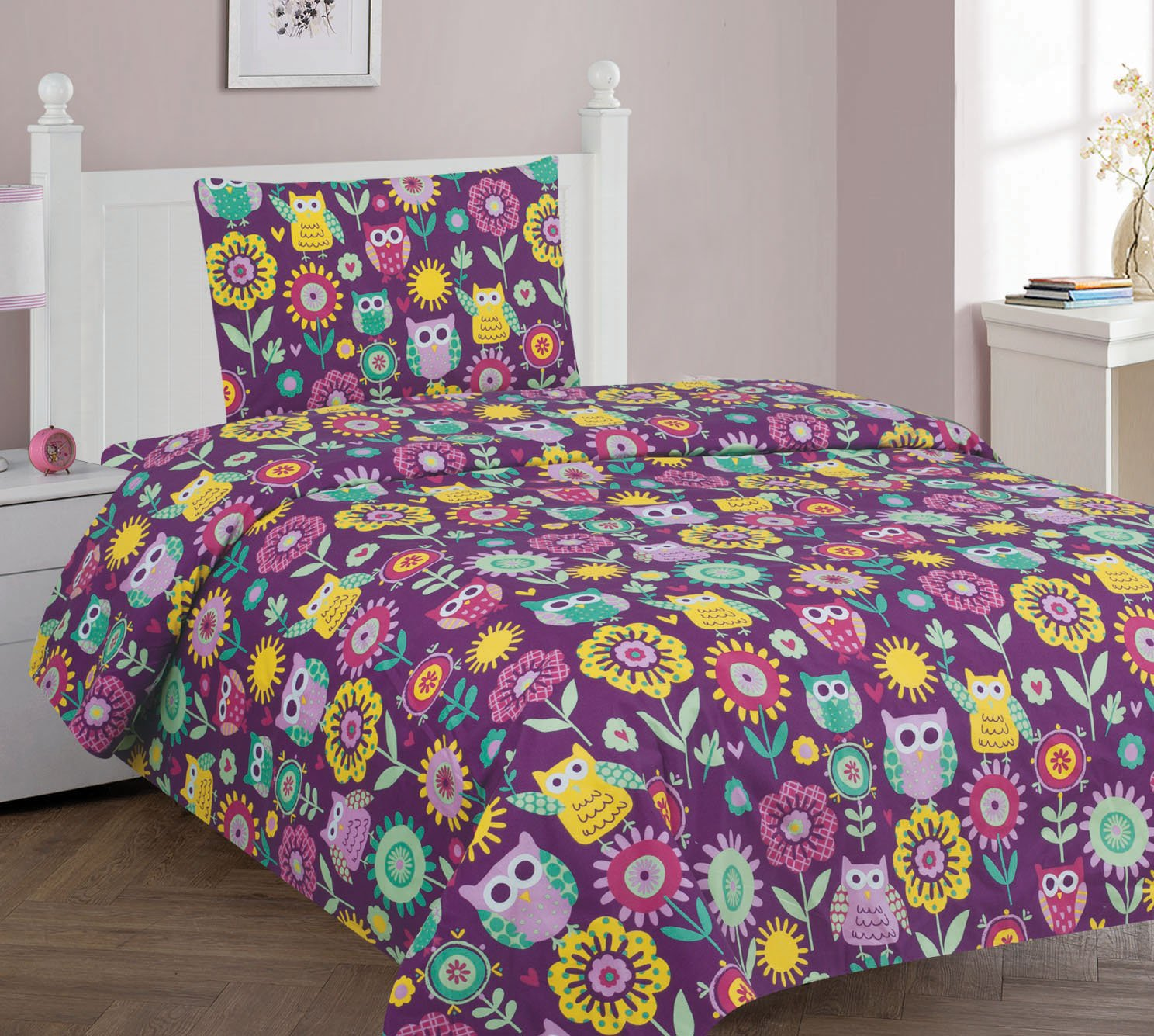Goldenlinens Twin Size 3 Pieces (1pc Flat Sheet, 1 Fitted Sheet & 1 pillow Case) Purple Owl Flower Printed New Designs Kids Bed Sheet Set# Owl Twin Sheet