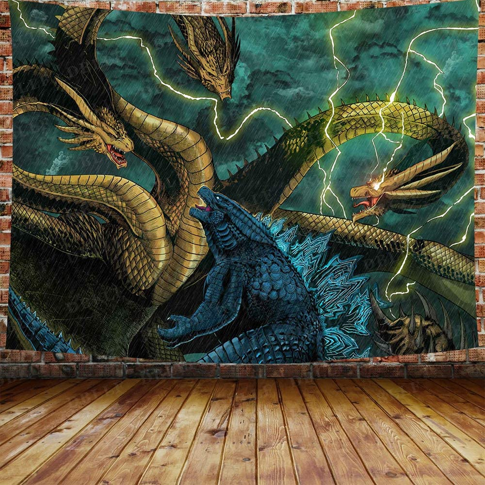 """DBLLF Funny Monster Ukiyo-e Tapestry, Movie Monster Theme Wall Decoration for Apartment Home Art Wall Tapestry,Queen Size 80""""""""x 60"""""""" Flannel Art Tapestries,for Living Room Dorm Bedroom Home DBLS966"""