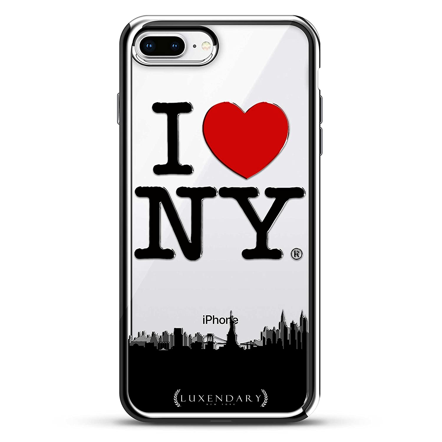 Amazon.com: I LOVE NY, SKYLINE | Luxendary Chrome Series designer case for iPhone 8/7 Plus in Silver trim: Cell Phones & Accessories