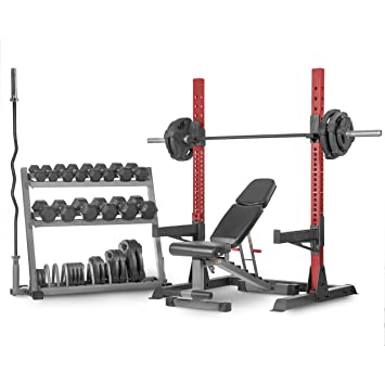 XMark CHAMPION Juego con estante de almacenamiento, estante multiprensa para sentadillas, banco de musculación