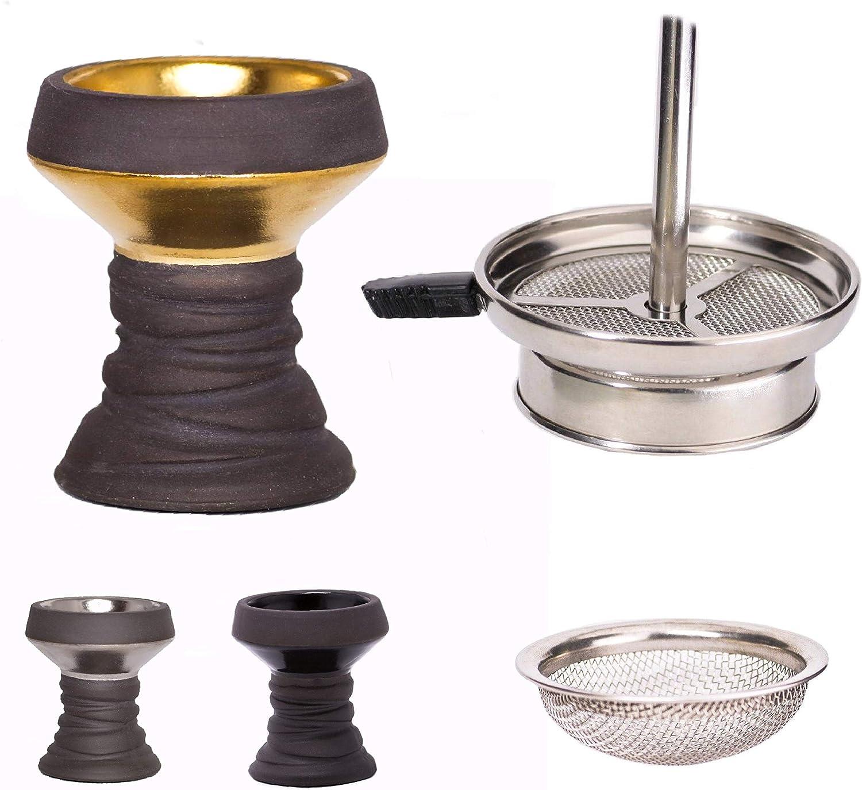 Meduza - Juego de cachimba con cabezal de piedra y accesorio para chimenea, incluye accesorio para chimenea, accesorios para pipa de agua (negro y dorado)