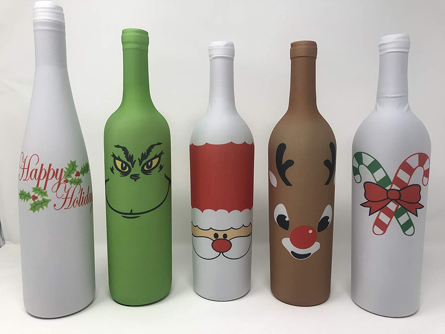 Holiday Gear Christmas Wine Bottle Covers & Xmas Decorations Wine Skin Unique Christmas Wine Decor Set of 5 Better Than Wine Labels & Wine