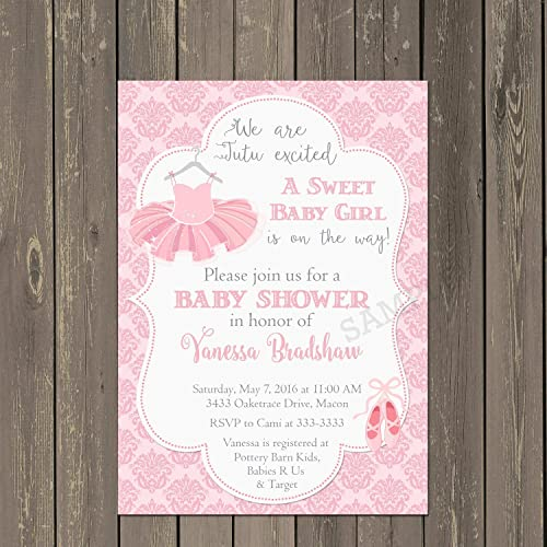 Amazon Com Ballerina Baby Shower Invitation In Pink Damask With