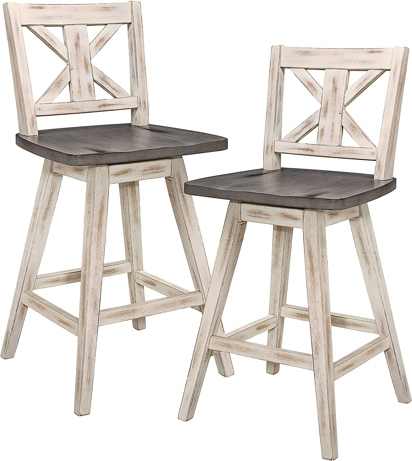 Amazon Com Homelegance Barstool Set Of 2 Amsonia Counter Height Swivel Stool 2 Pack White Furniture Decor