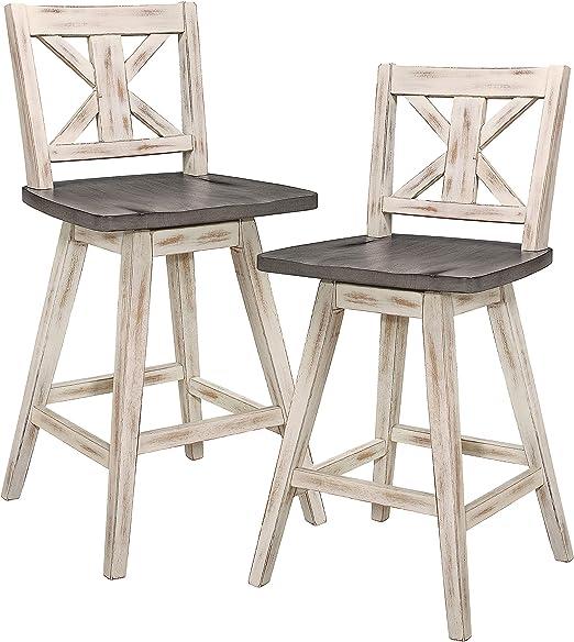 Amazon Com Homelegance Barstool Set Of 2 Amsonia Counter Height Swivel Stool 2 Pack White Furniture Decor