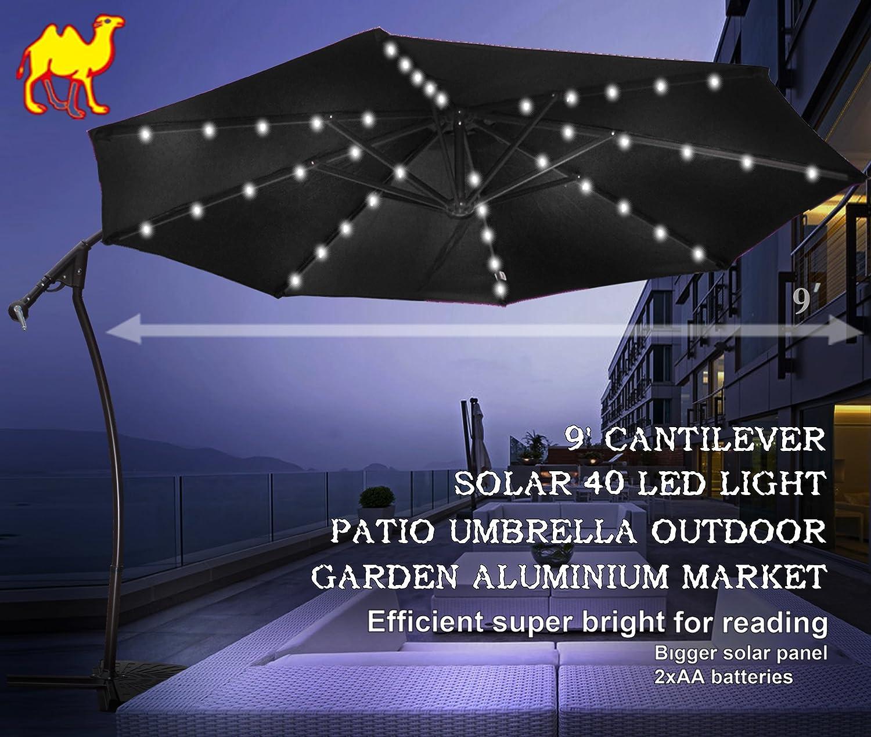 Amazon.com : STRONG CAMEL 9u0027 CANTILEVER SOLAR 40 LED LIGHT PATIO UMBRELLA  OUTDOOR GARDEN ALUMINIUM MARKET BLACK : Offset Patio Umbrella : Patio, ...