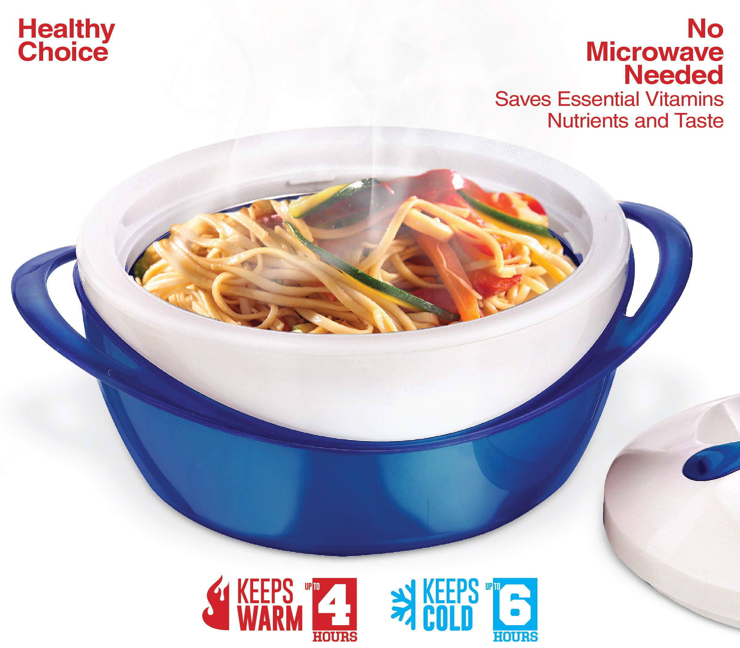 Pinnacle Casserole Dish - Large Soup and Salad Bowl - Insulated Serving Bowl With Lid (3.6 qt, Blue) by Pinnacle Thermoware (Image #7)