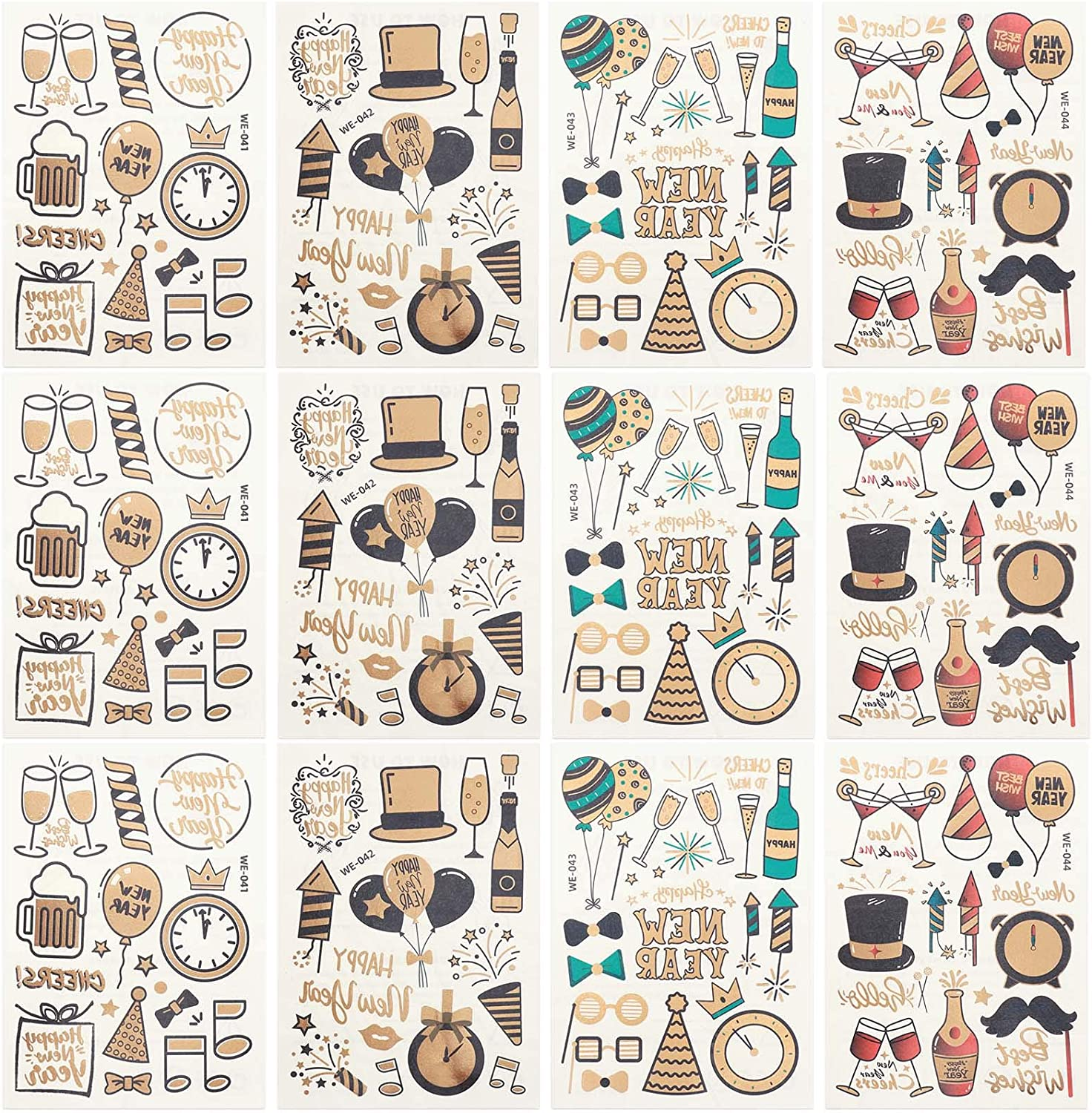 Ujuuu 48 Gold New Years Eve Tattoos 12 Sheets for Kids Adults Face Hands Tattoos NYE Party Favors Supplies Temporary Tattoos Happy New Year, Cheers