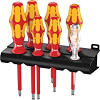 Wera 160 i/7 Rack Schraubendrehersatz Kraftform Plus Serie 100 + Spannungsprüfer + Rack, 7-teilig, 05006147001