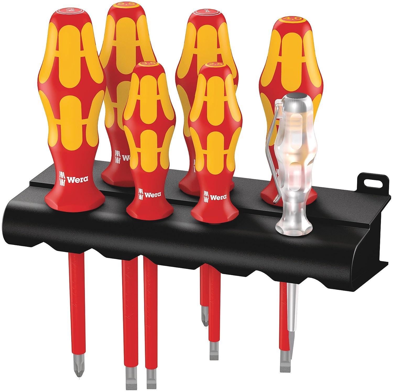 160 i/7 Rack Assortimento di giraviti Kraftform Plus serie 100 + cercafase + rack, 7 pezzi Wera 05006147001