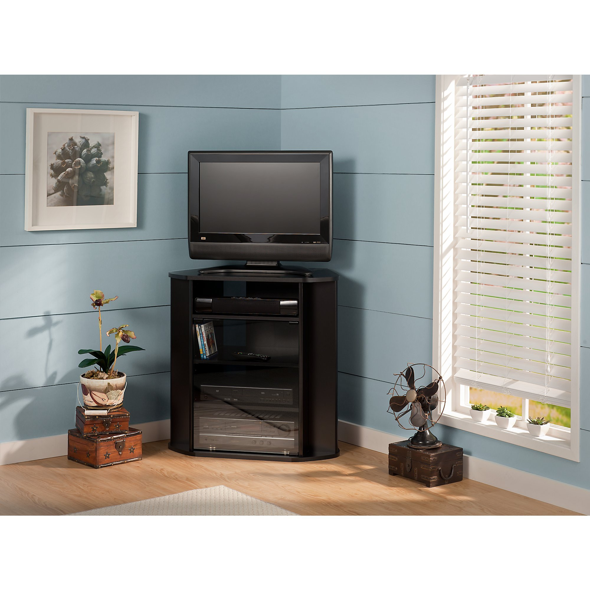 Visions Tall Corner TV Stand in Black