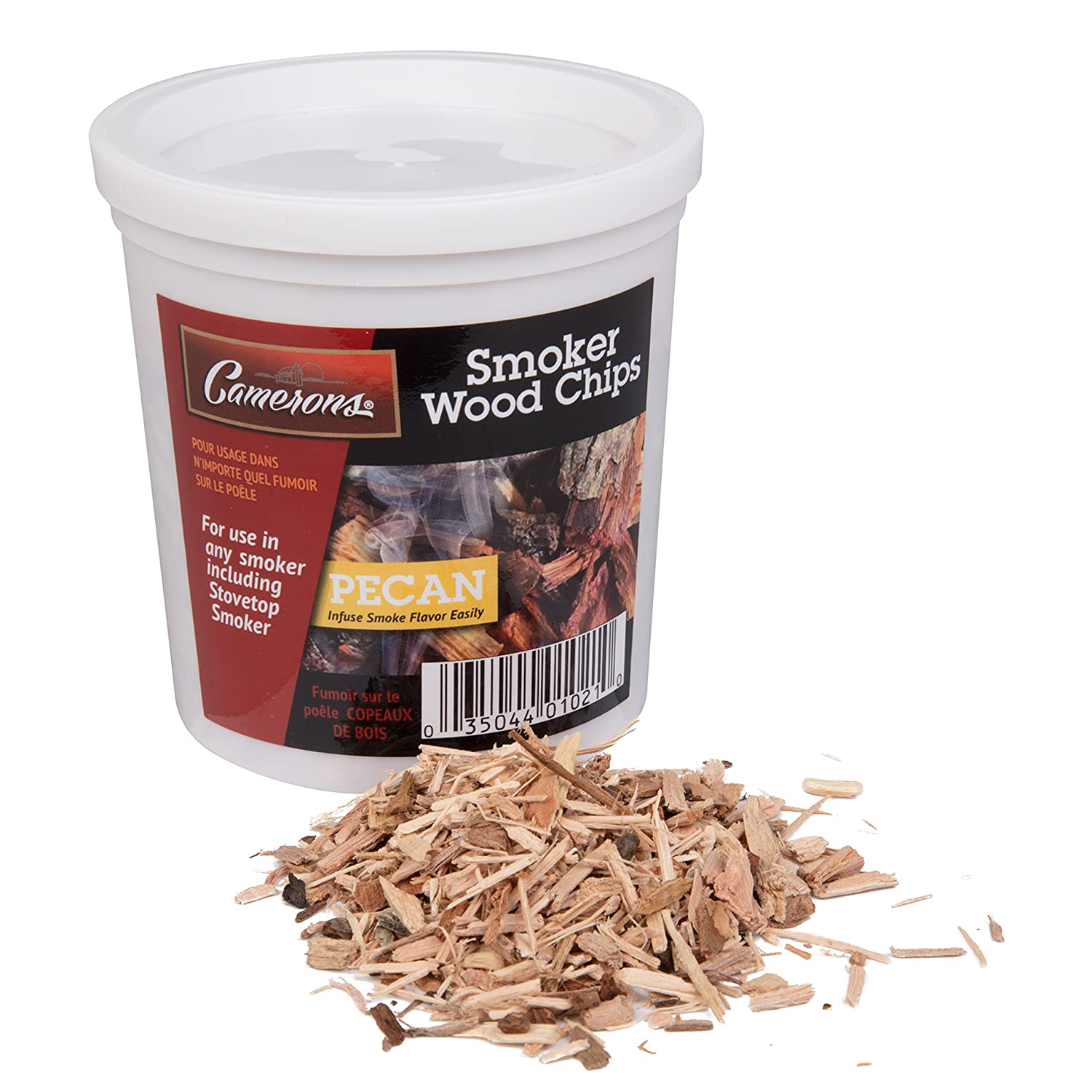Wood Smoking Chips - 1 Pint of Pecan Wood Chips (Fine) for Smokers - 100% Natural Camerons Products CPE