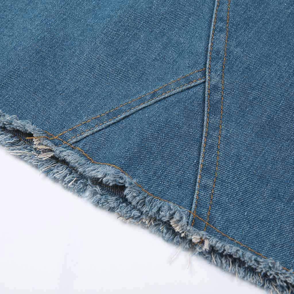 Pervobs Women Fashion Modern Denim Skirt Button Zipper Fly Open Boot Cut Mini Skirt Shorts with Pockets(2XL, Blue) by Pervobs Women Pants (Image #8)