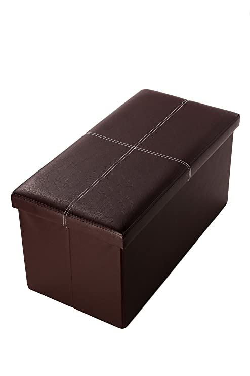 Juvale Faux, Folding, Wooden, Leather, Storage, Ottoman With Contrast  Stitch Design