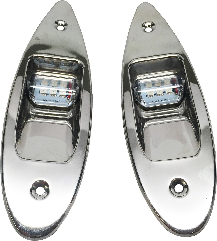 Pactrade Marine Boat Navigational Pair of LED Side Tear Drop Lights SS Vertical Mount, 12V