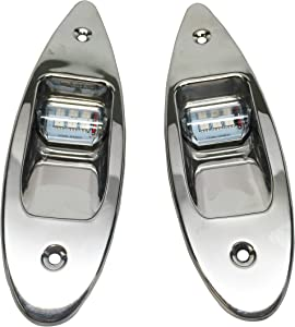 Pactrade Marine Boat Navigational Pair of LED Side Tear Drop Lights SS Vertical Mount, 12V