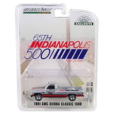 1981 GMC Sierra Classic 1500 Pickup Truck 65th Annual Indianapolis 500 Mile Race Official Truck (May 24, 1981) 1/64 Diecast Car by Greenlight 30027: Toys & Games