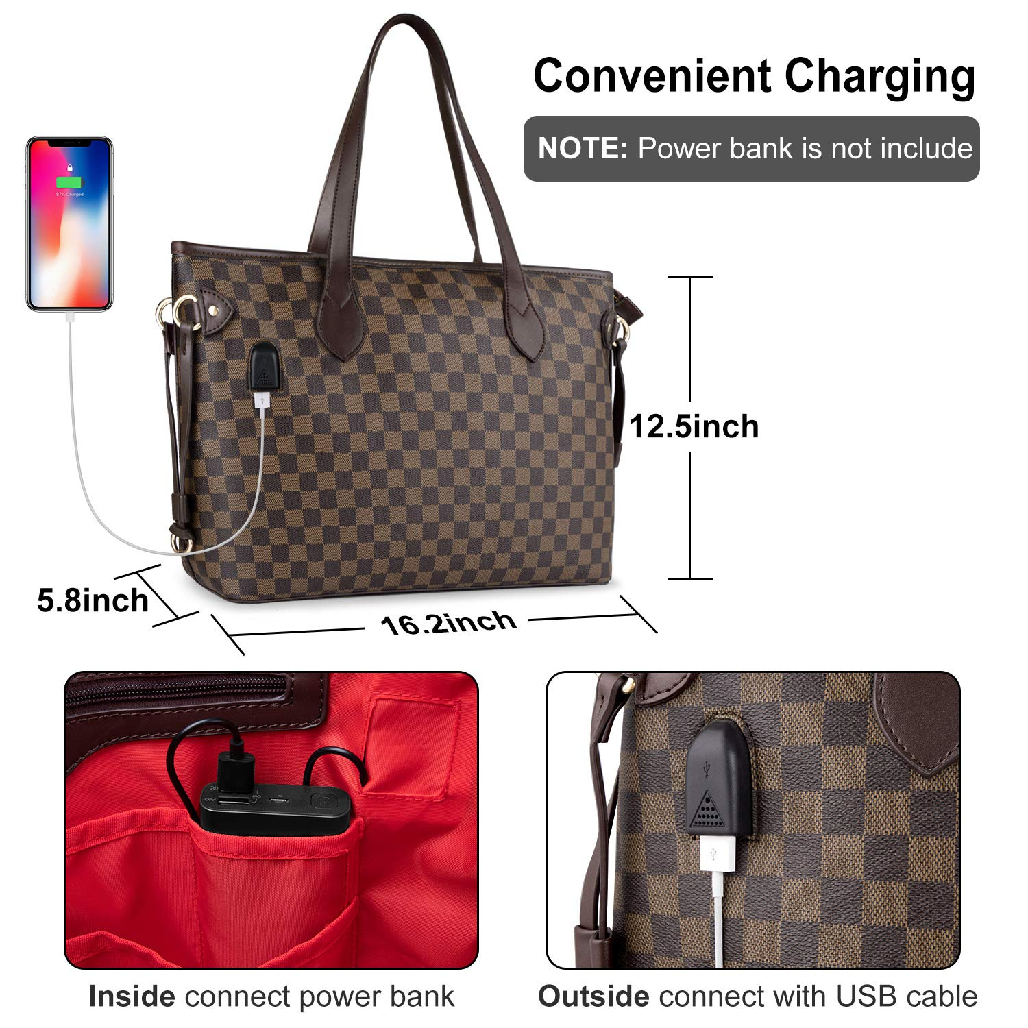 Laptop Tote Bag Stylish Womens Work Office Bag with USB Lightweight PU Leather Water Resistant Teacher Tote Bag Shoulder Bag Fits 15.6 Inch Laptop