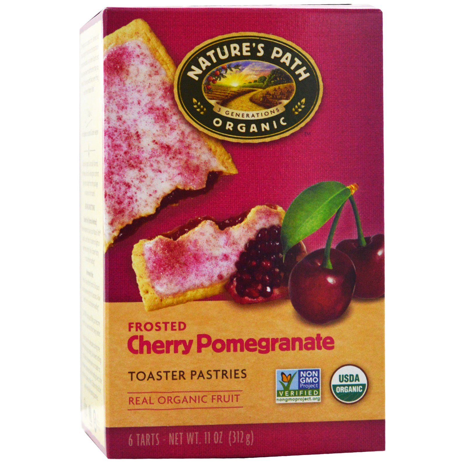 Nature's Path, Organic, Frosted Toaster Pastries, Cherry Pomegranate, 6 Tarts, Each(Pack of 4)