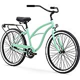 "sixthreezero Around The Block Women's Single-Speed Beach Cruiser Bicycle, 24"" Wheels, Mint Green with Black Seat and Grips"