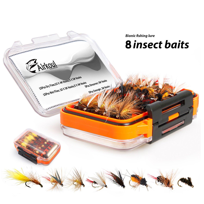 Airkoul Fly Fishing Flies Kit,Dry Flies,Wet Flies,Streamer,Emerger with Waterproof Fly Box,100% Handmade Fly Fishing Lures