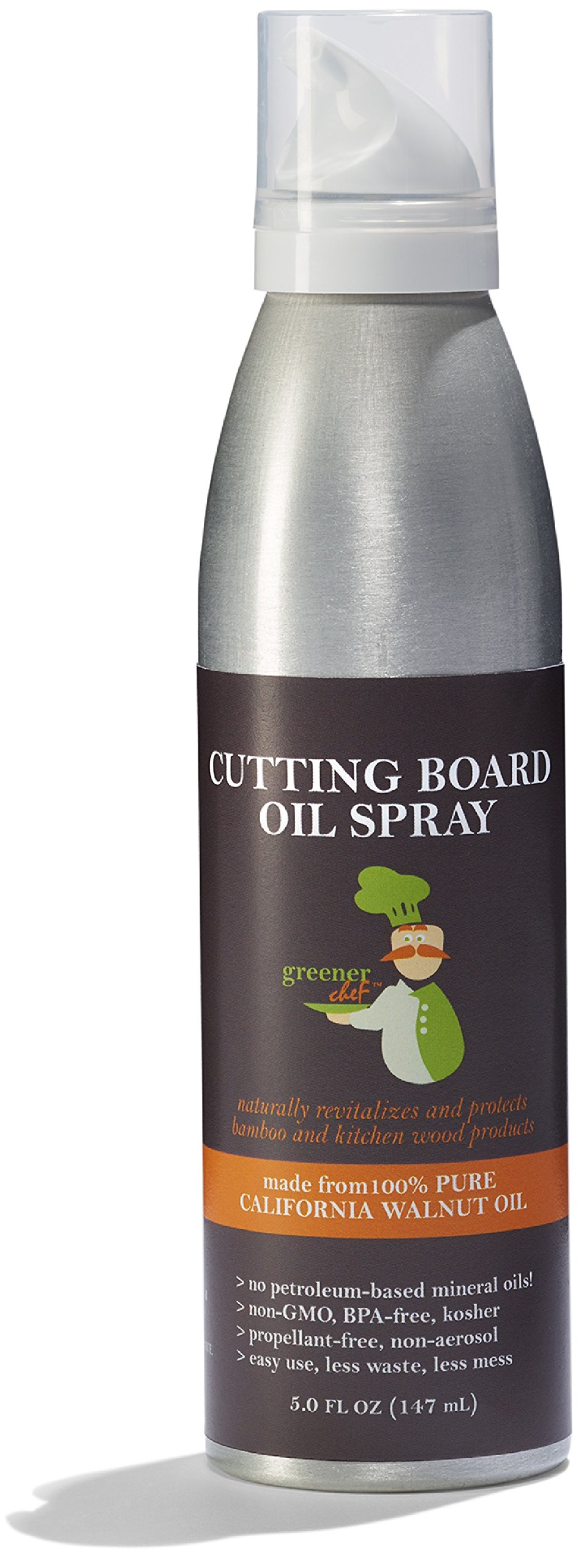 Greener Chef Food Grade Cutting Board Oil Spray and Butcher Block Oil Conditioner - All Natural Walnut Oil for Wood and Bamboo Chopping Boards - No Mess and Low Waste Spray - Made in USA by Greener Chef