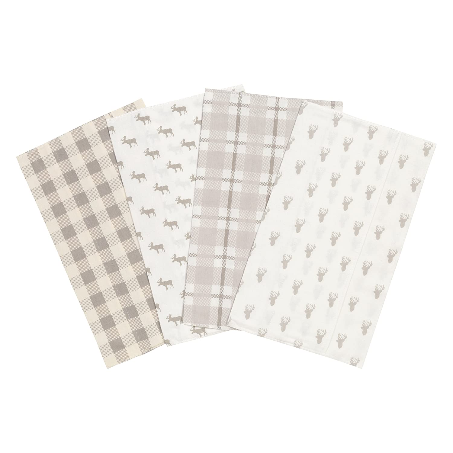 Trend Lab Stag and Moose Flannel Burp Cloth Set, 4 Piece 103201