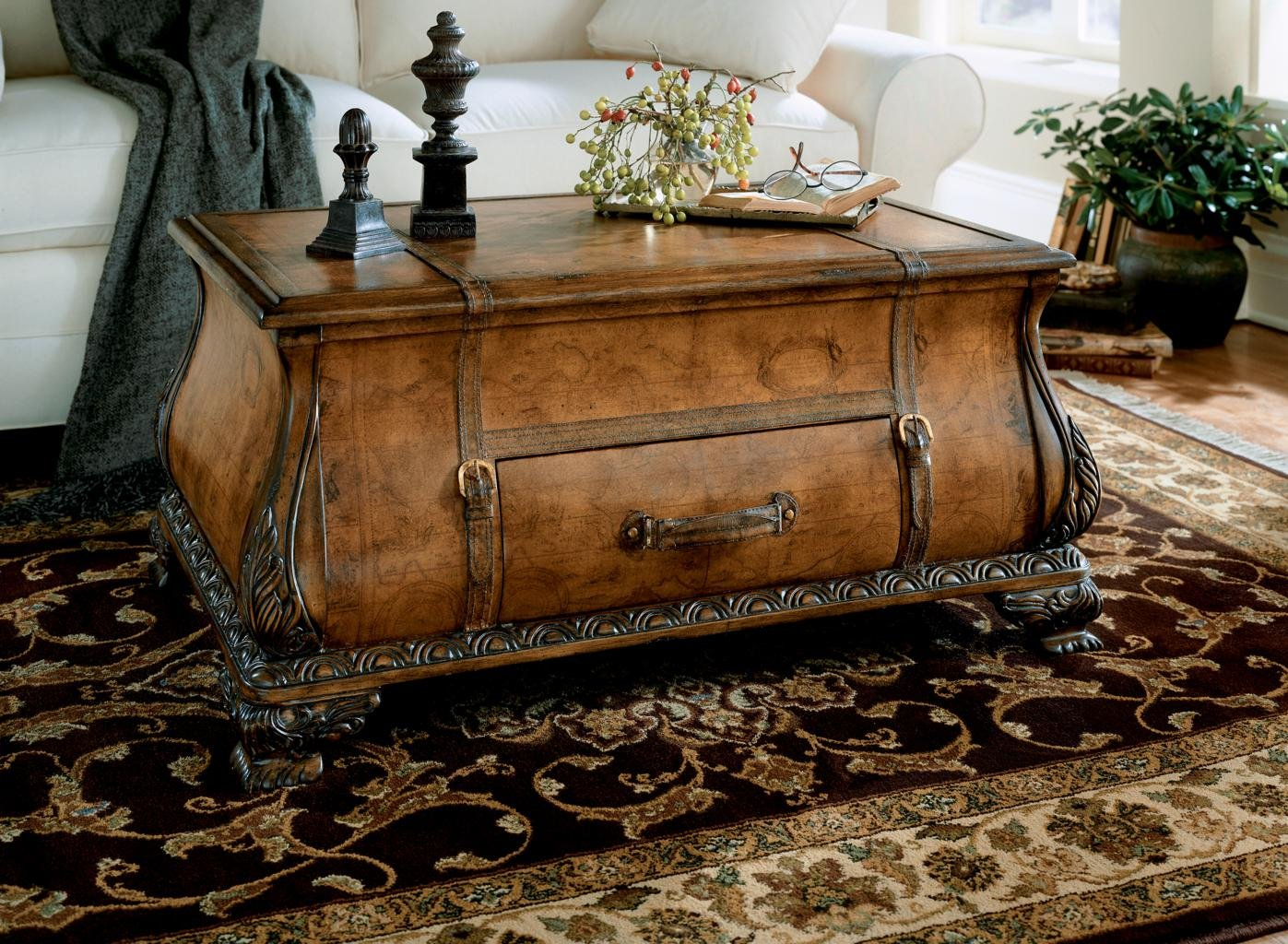 Amazon.com: Wood Trunk Table W Ornamental Straps U0026 Carvings: Kitchen U0026  Dining